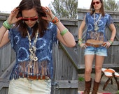 Tie Dye Tassle T-Shirt - Top - Bohemian / Hippie - Blue - Upcycled - Cropped