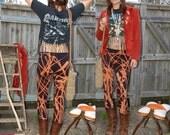 Bleached Black Leggings - Distressed - Upcycled - Rocker