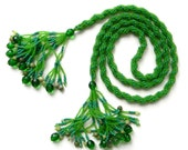 Green beaded  long lariat rope necklace