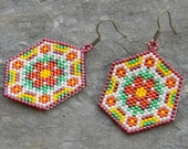 Flower Seed bead earrings - Peyote Earrings, red / yellow /green / beige, summer jewelry