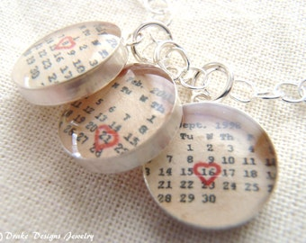 Mommy necklace Personalized Calendar Sterling Silver kids birthdate necklace jewelry with dates