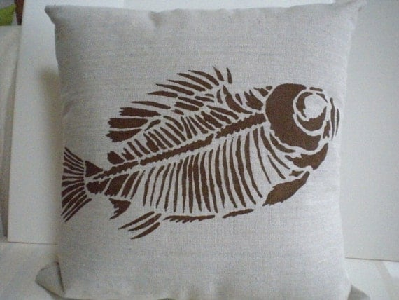 CANVAS PILLOW WITH Fish Fossil Stencil Design