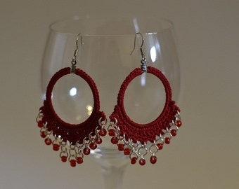 Crochet Beaded Dangle Hoop Earrings