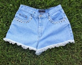 Studded, Musical-Pocket Lace High-Waisted Shorts