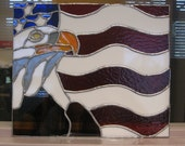 Eagle and US Flag stained glass panel
