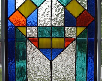 Classic Geometric Stained Glass Panel - Glass Art