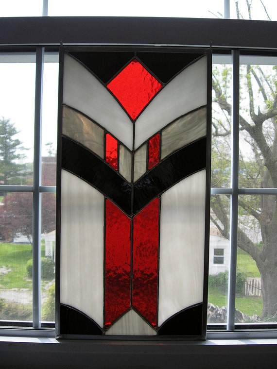 Geometric Stained Glass Panel-- Black, Red, Gray, and White - Stained Glass Window - Glass Art - Modern Art - Wall Hanging - Privacy Screen