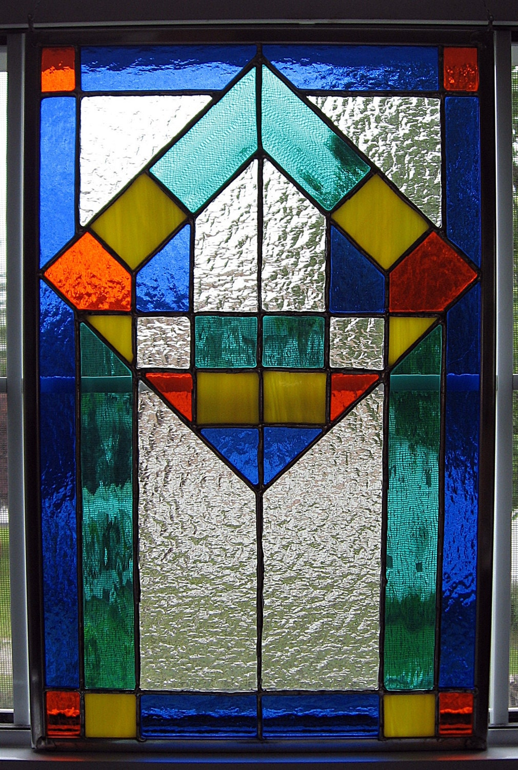 Classic Geometric Stained Glass Panel Glass Art