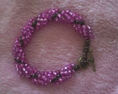 Pink and Bronze/Brown Bracelet with Toggle