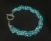 Blue and White Beaded Twist Bracelet with Silver Toggle