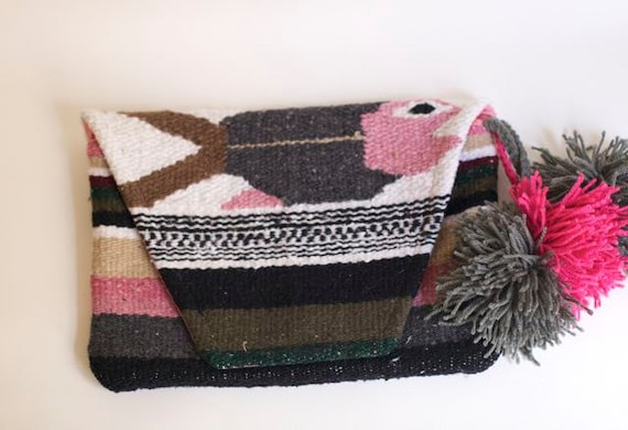 SALE // woven macrame clutch mexican serape blanket oversized slouchy showstopper one of a kind with pompoms