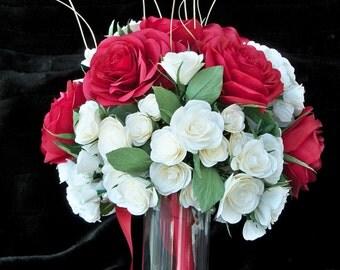Paper Flower Bridal Bouquet Wedding Anniversary Valentines Centerpiece Custom Made to Order