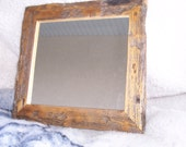 "8 1/2"" X 9 1/2"" mirror frame, made out of rustic reclaimed wood from the old log cabin (as pictured)"