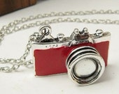 vintage style red camera necklace