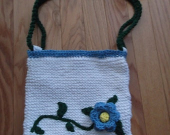 Blue flower and vine purse