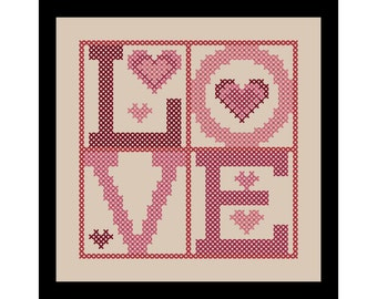 Cross Stitch Pattern - Chart 'LOVE' Quote by Know Knots Needle Works - PDF File Format - Instant Download