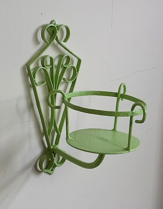 Items similar to RESERVED Vintage Wrought Iron Plant Holder Updated Candle Wall Hanging Sconce ...