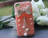 iPhone 4 case, iPhone 4s case, iPhone case, Hard case for iPhone 4 - Pink, Bow, Rhinestones and Pearl