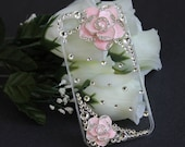 iPhone 4 case, iPhone 4s case, iPhone case, Hard case - Clear, Pink Rose and Rhinestones