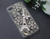 iPhone 4 case, iPhone 4s case, iPhone case, Hard case - Clear, Eiffel Tower and Snow Flake