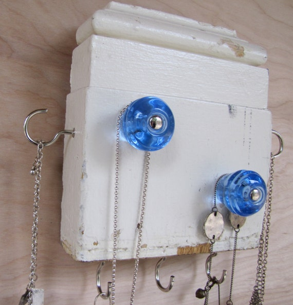 Upcycled Jewelry Holder Necklace Organizer with Ice Blue Knobs