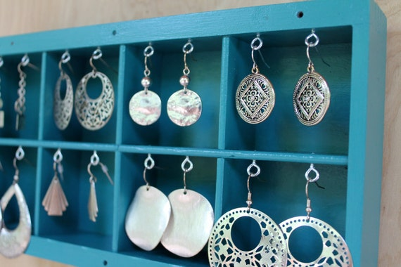 Turquoise Printers Drawer Jewelry Hanger / Earring Display Holder