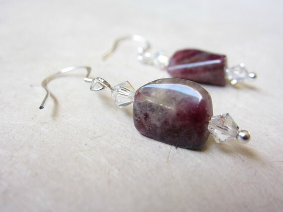 pink tourmaline earrings with swarovski crystal - handmade by Rockin'Lola