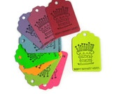 Happy Birthday Wishes Cake Party Favor Tags, Birthday Present Tags, Set of 9 Various Colors