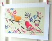 Vintage Birds Art print whimsical