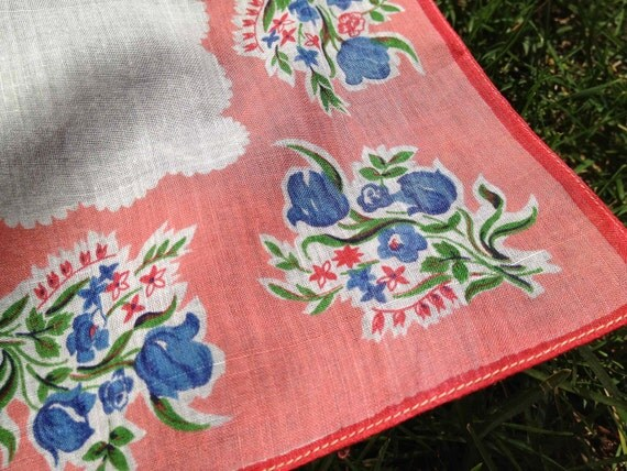 Salmon/Coral and Blue Flowered Handkerchief