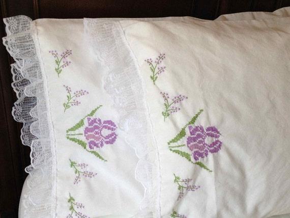 Vintage Pillowcases or Vintage Shams - Pair of Embroidered Purple Iris Flower