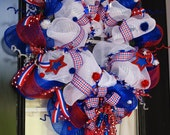 Memorial Day & 4th of July Deco Mesh Wreath