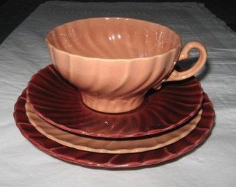 Gladding-McBean Franciscan CORONADO Coral Cup Saucer, Maroon Saucer, Bread Butter Plate