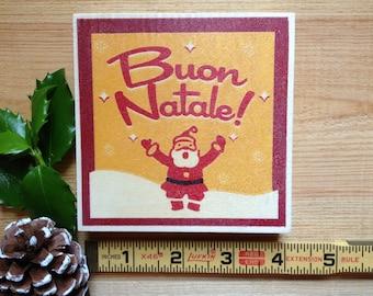 Buon Natale Hand Printed Mini Retro Wood Sign