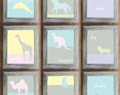 DIY Art Wall for Nursery or Playroom, Set of 9 Printable Posters