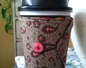 REVERSIBLE Tapered Cup Cozy (Travel/Coffee/Solo/Sippie Cups) - Brown & Pink Paisley and Brown/White Polkadot Reverse