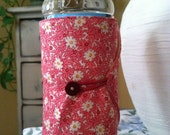 Bottle/Can Cozy (Water/Soda/Beer)  - Pink & White Floral