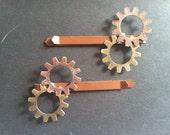 Steampunk & Victorian Gear Hair Pins - Light Brown Pair