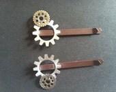 Steampunk & Victorian Gear Hair Pins - Dark Brown Pair