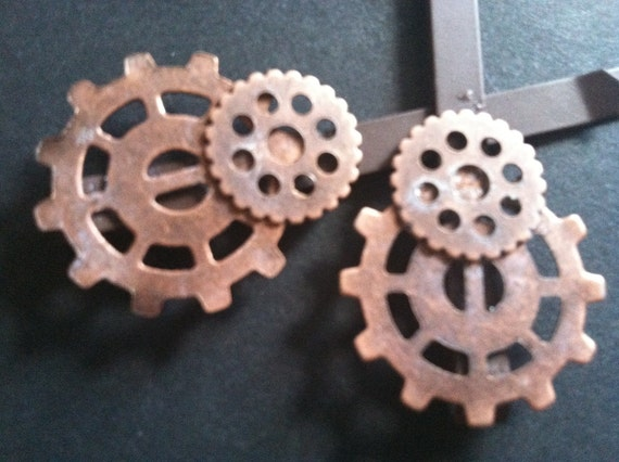 Steampunk & Victorian Gear Hair Pins - Dark Brown Pair