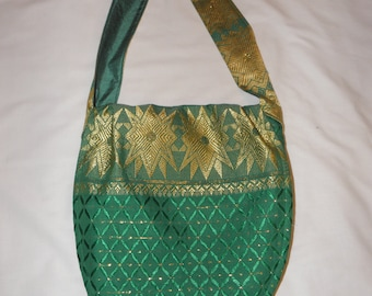 Green and Gold George Brocade Bag