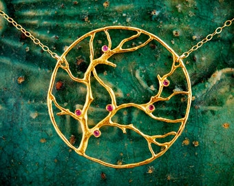 Gold Cherry Blossom Necklace with Red Ruby- Large Family Tree of Life Branch