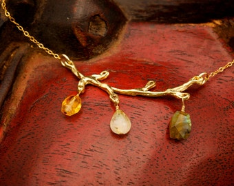 Gold Branch Necklace with Labradorite, Citrine and Quartz - Gold Twig Necklace