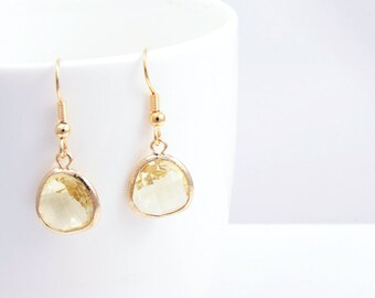 Jonquil Gold Earrings, Gold plated Earhook, Jonquil Color Glass and Gold Framed Earrings, Jonquil Earrings - Design for everyday use