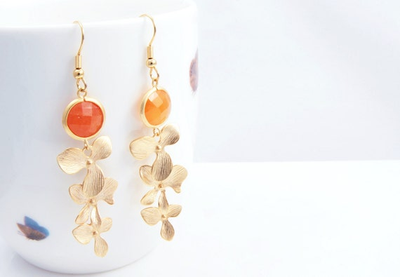 3 Flower Gold Connector and Orange Color Glass With Matted Gold Framed Earring