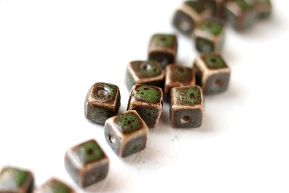 10pcs Dark Olive Green and Brown Color Ceramic Cubes, Square Center Drilled Beads 8x8mm