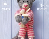 tabitha kitten cat in pyjamas  PDF email toy knitting pattern