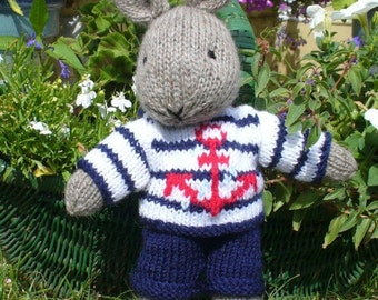 Bill sailor bunny rabbit with clothes PDF email knitting pattern