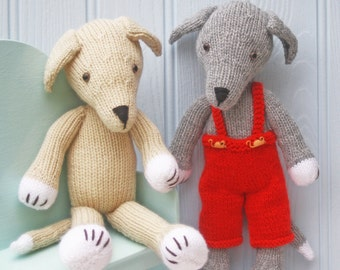 greyhound dog puppy in removeable dungarees PDF email knitting pattern