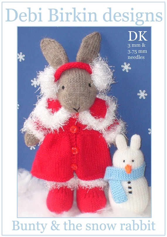 winter bunny rabbit with christmas clothes and snowman PDF email knitting pattern